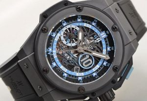 The durable replica Hublot King Power Maradona Men's watches 716.CI.1129.RX.DMA11 are made from black ceramic.