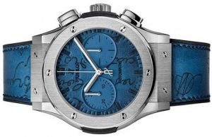 The special copy Hublot Classic Fusion 521.NX.050B.VR.BER18 watches have blue straps.