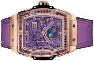 The purple dials fake Hublot Spirit Of Big Bang 647.OX.4781.LR.1205 watches have purple leather straps.
