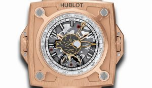 The 45 mm replica Hublot MP 908.OX.1010.GR watches have skeleton dials.