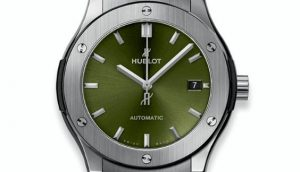 The green dials replica Hublot Classic Fusion 511.NX.8970.LR watches have green dials.