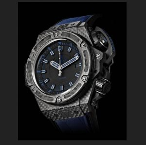 The durable fake Hublot King Power 731.QX.1190.GR.ABB12 watches are made from carbon fiber.