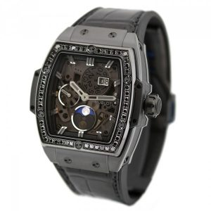 The 42 mm fake Hublot Spirit Of Big Bang 647.CI.1110.LR.1200 watches have skeleton dials.
