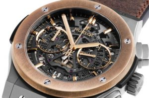 "The 45 mm copy Hublot Aerofusion Chronograph ""Molon Labe"" watches have skeleton dials."