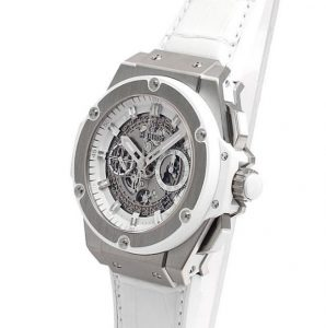 The 48 mm copy Hublot King Power 701.NE.0127.GR watches have skeleton dials.