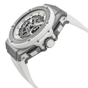 The water resistant replica Hublot King Power 701.NE.0127.GR watches are made from titanium.