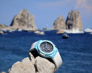 The charming copy Hublot Classic Fusion Capri watches are made from blue ceramic.