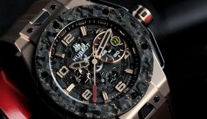 The special fake Hublot Big Bang Ferrari watches are made from metallic carbon fibre and red gold.