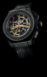 The 48 mm fake Hublot King Power 748.CI.1119.PR.KOB13 watches have skeleton dials.