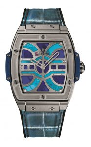 The titanium copy watches have blue leather straps.