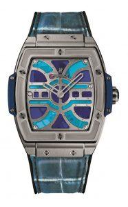 The titanium copy watches have blue leather straps.