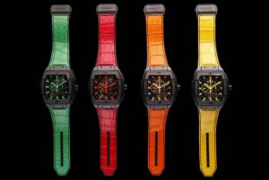 The superb fake watches have colorful straps.