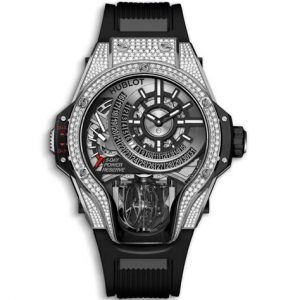 The titanium fake watches are decorated with diamonds.