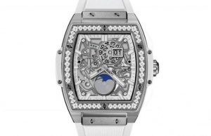 The titanium copy watches are decorated with diamonds.