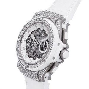 The titanium fake watches have white alligator leather straps.