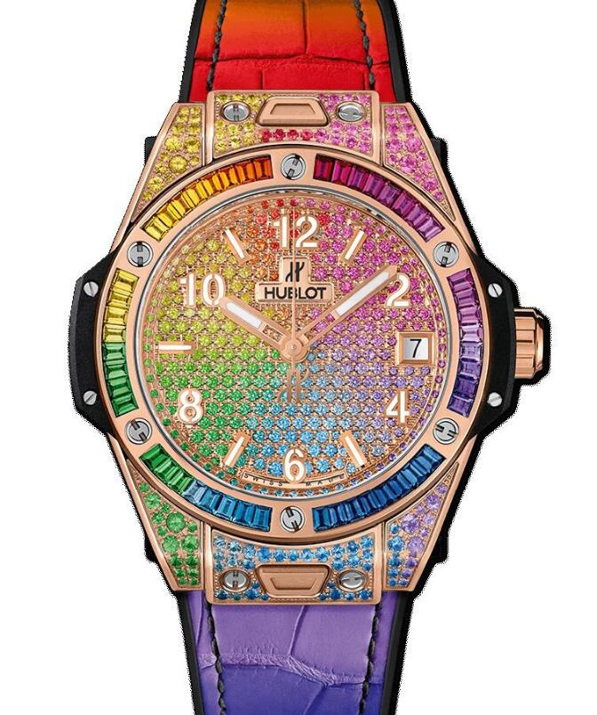 The gemstones paved dial and bezel are designed to be in a hue of rainbow.