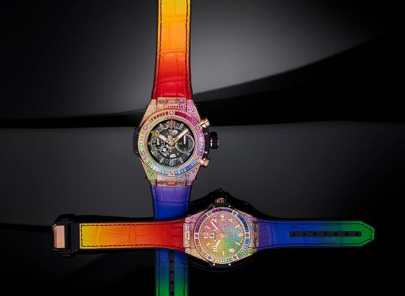 The colored leather straps enhance the brilliance to the Hublot Big Bang models.