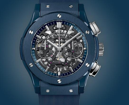 The new blue ceramic Hublot looks peaceful and mysterious.
