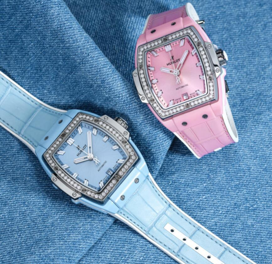 Swiss imitation watches forever are stylish with pink and light blue colors.