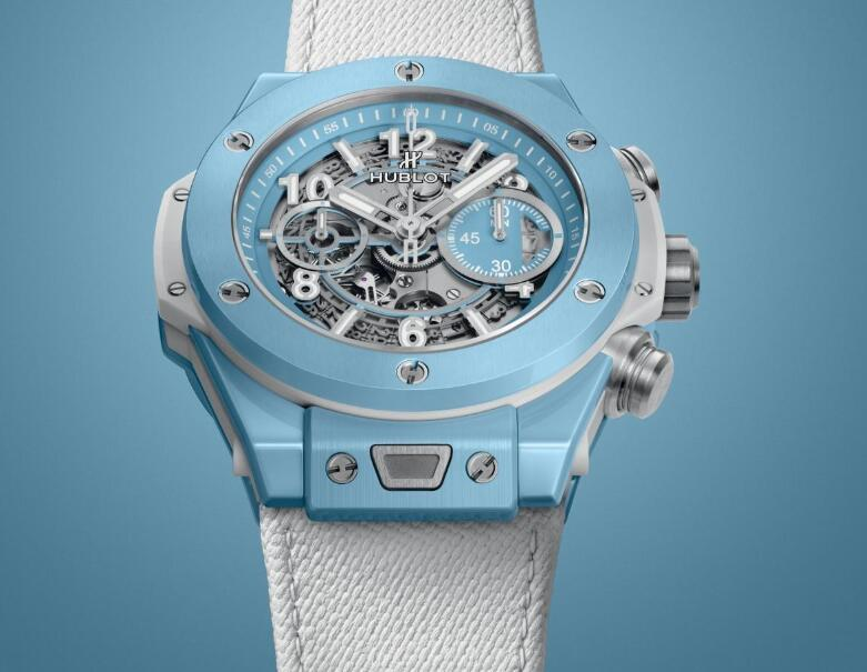 The sky blue copy Hublot looks fresh and pure.